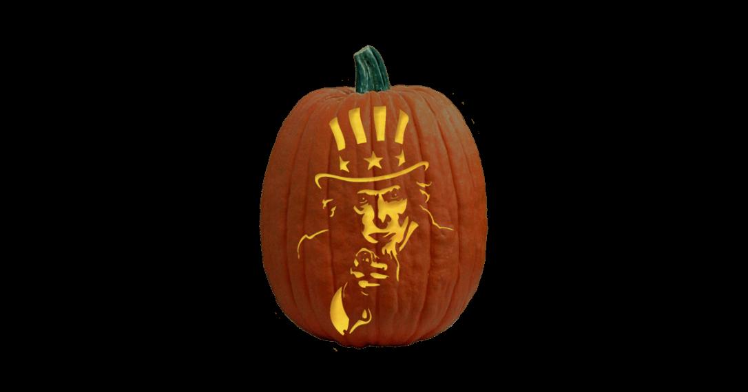 Uncle Sam carved pumpkin