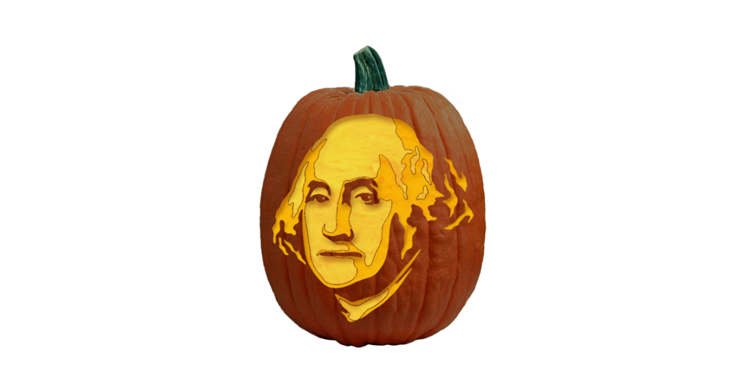 George Washington carved pumpkin