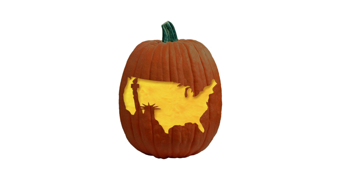 Statue of Liberty/USA carved pumpkin