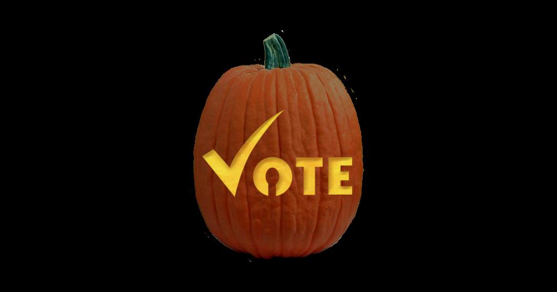 Vote carved pumpkin